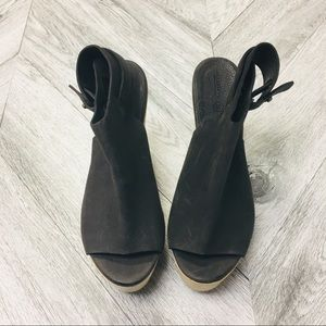 All Saints Shoes - All Saints | Grey Leather City Wedge Wooden Heels